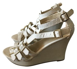 Express Silver Hardware Leather White Wedges