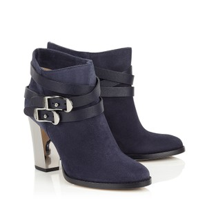Jimmy Choo Suede Ankle Straps Metal Buckles Gold Metallic Heel Made In Italy Navy Blue Boots