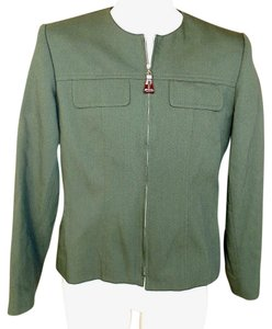 Oleg Cassini Zipper Front Petite Military Jacket