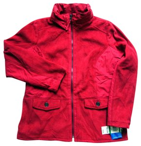 Style & Co Hidden Hood Amore Fleece Polyester Sporty Red Jacket
