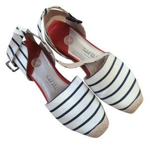 Isabel Toledo Espadrille French Stiped White and Navy Wedges