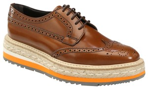 Prada Wingtip Sneaker Brogues Oxford Espadrilles Oxfords Brown Tabacco Platforms