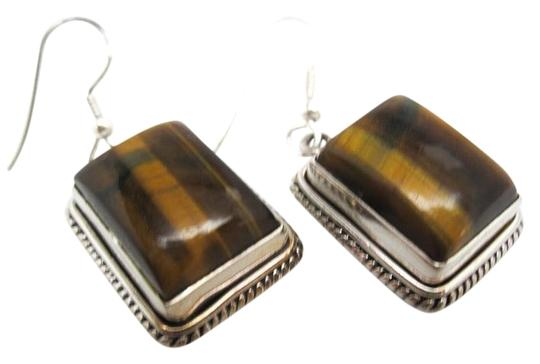 Preload https://img-static.tradesy.com/item/20072790/brown-and-yellow-handmade-sterling-silver-tiger-eye-earrings-0-1-540-540.jpg