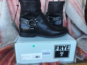 Frye Phillip Harness Black Sz 10 Boots