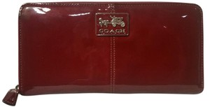 Coach Coach Red Patent Leather Zip-Around Wallet