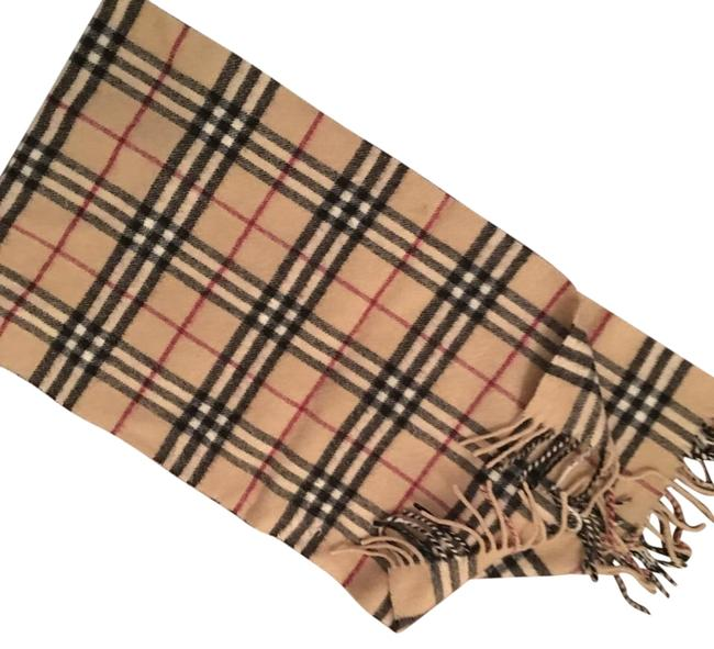 Item - Tan Black Ivory and Deep Red Classic Wool Scarf/Wrap