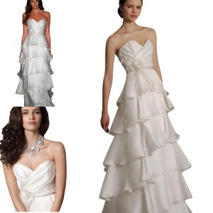 Jim Hjelm Light Ivory White Silk Satin Faced Organza 8059 Strapless Aline Layered Skirt Sweetheart Flowy Destination Wedding Dress Size 10 (M)