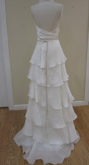 Jim Hjelm Light Ivory White Silk Satin Faced Organza 8059 Strapless Aline Layered Skirt Sweetheart Flowy Destination Wedding Dress Size 10 (M) Image 10