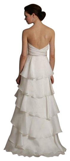 Jim Hjelm Light Ivory White Silk Satin Faced Organza 8059 Strapless Aline Layered Skirt Sweetheart Flowy Destination Wedding Dress Size 10 (M) Image 5