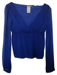 Max Studio Evening Long Sleeve Soft Top Dark Blue