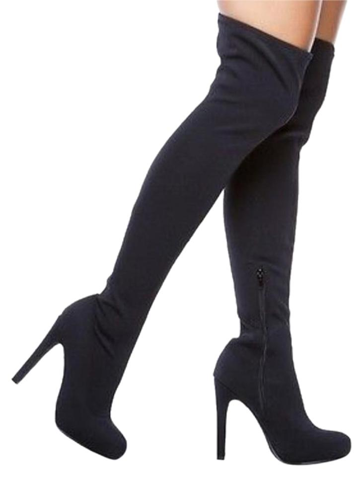 1d06df08a2b Paper Fox Black Over The Knee High Heel Boots Booties Size US 7.5 ...