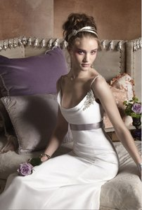 Alvina Valenta Low V Back Cowl Neckline #9752 Satin Wedding Dress