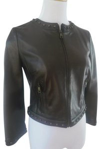 Dolce&Gabbana Studded Bomber Cropped 3/4 Sleeve F9586l Dark Brown Leather Jacket