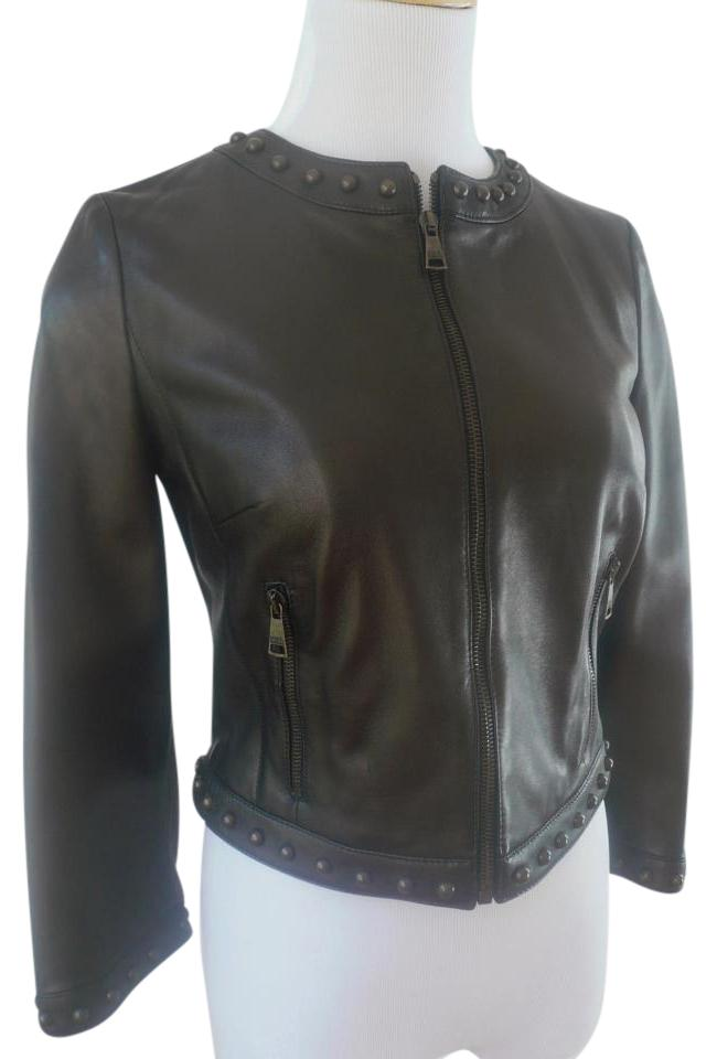 b4e43f1a948 Dolce&Gabbana Studded Bomber Cropped 3/4 Sleeve F9586l Dark Brown Leather  Jacket Image 0 ...