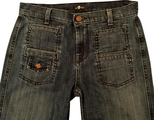 7 For All Mankind Boho 70's Extra Long Sexy Trouser/Wide Leg Jeans-Medium Wash