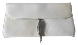 Valentino Vintage Envelope White Patent Leather Clutch
