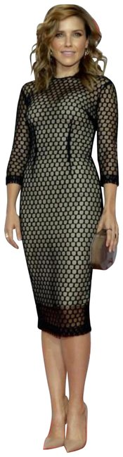 Item - Navy Black Nude Runway Line Fall 2014 Collection Line Mid-length Cocktail Dress Size 4 (S)