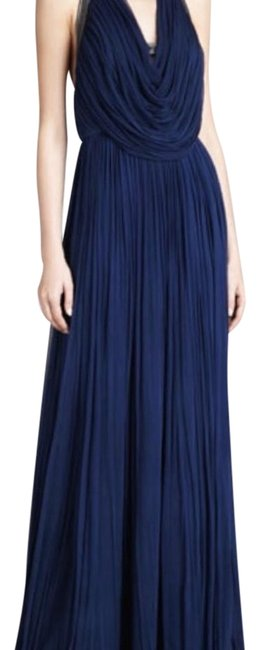 Item - Navy Oran Pleated Halter Gown Long Formal Dress Size 4 (S)