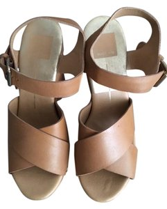 Dolce Vita Platform Leather Tan Sandals