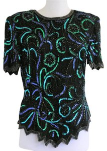 Adrianna Papell Beaded Sequin Occasion Silk Holiday Top