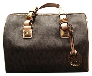 MICHAEL Michael Kors Satchel in Brown With Gold Hardware