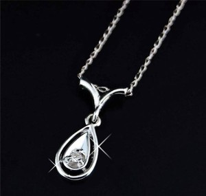 14k white gold, genuine Diamond Pendant With 18