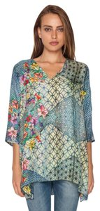Johnny Was Keyhole Rayon Floral 3/4 Sleeve Boho Tunic