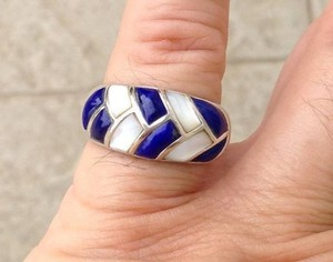 Size 8.25, sterling silver, blue Lapis, Mother of Pearl Ring, Band