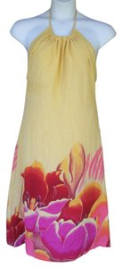 H&M short dress Yellow, Multi-color Silk Adjustable Floral Halter on Tradesy