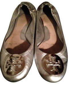 Tory Burch Logo Leather Rubber Soles silver Flats