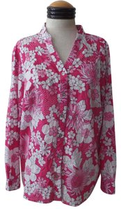 Alfred Dunner Floral Button Down Shirt Pink