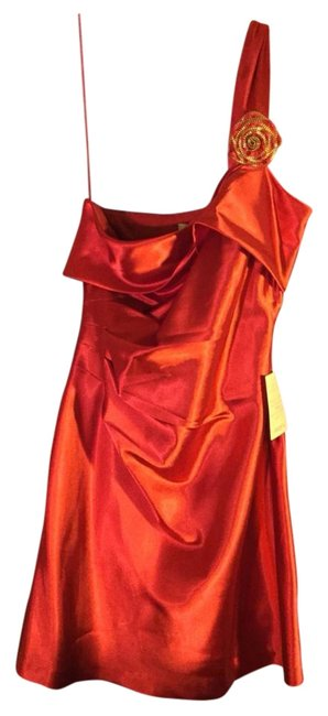 Preload https://img-static.tradesy.com/item/20073691/arden-b-red-satin-ruched-one-shoulder-brooch-holiday-8-10-above-knee-cocktail-dress-size-10-m-0-1-650-650.jpg