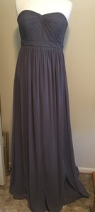 Jenny Yoo Charcoal (Darker Gray) Luxe Chiffon/ Polyester Aidan Formal Bridesmaid/Mob Dress Size 2 (XS)