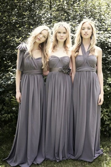 Jenny Yoo Charcoal (Darker Gray) Luxe Chiffon/ Polyester Aidan Formal Bridesmaid/Mob Dress Size 2 (XS) Image 2