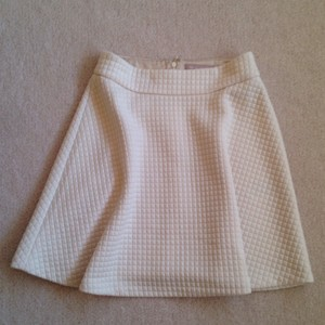Banana Republic Classic Skater Preppy Winter Mini Skirt Cream