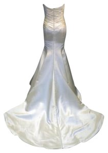Augusta Jones Creme Ivory Charmuse Satin Patti Mermaid Curve Hugging Sweetheart Strapless 10/12 Sexy Wedding Dress Size 10 (M)