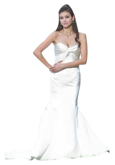 Augusta Jones Creme Ivory Charmuse Satin Patti Mermaid Curve Hugging Sweetheart Strapless 10/12 Sexy Wedding Dress Size 10 (M) Image 1