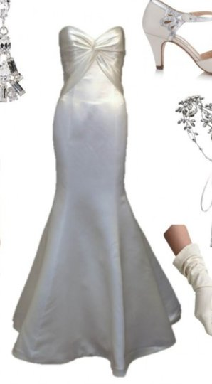 Augusta Jones Creme Ivory Charmuse Satin Patti Mermaid Curve Hugging Sweetheart Strapless 10/12 Sexy Wedding Dress Size 10 (M) Image 2
