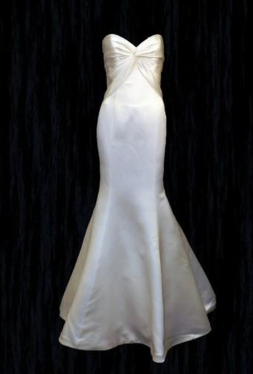 Augusta Jones Creme Ivory Charmuse Satin Patti Mermaid Curve Hugging Sweetheart Strapless 10/12 Sexy Wedding Dress Size 10 (M) Image 5