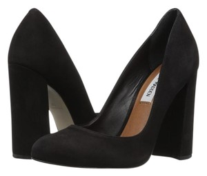 Steve Madden Spectur Chunky Heel Rounded Toe Suede Black Black