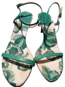 Burberry Leather Strappy Green Sandals
