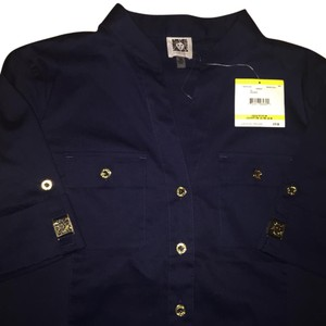 Anne Klein Button Down Shirt Midnight Blue