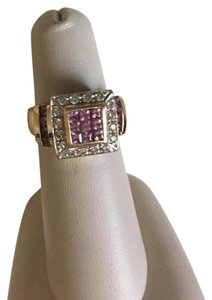 Barmakian Jewelers AUTHENTIC DIAMONDS, PINK SAPPHIRE AND 14K YELLOW GOLD RING