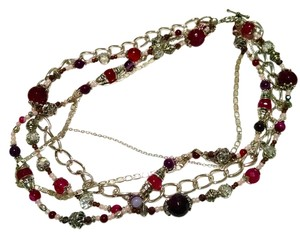 Necklace Multi Chain Beaded Agate Gemstones 15 Inch J699
