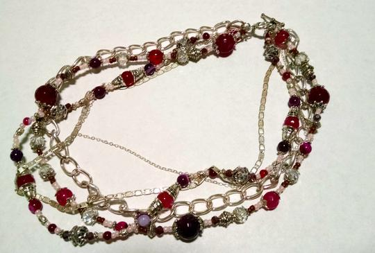 Other Necklace Multi Chain Beaded Agate Gemstones 15 Inch J699
