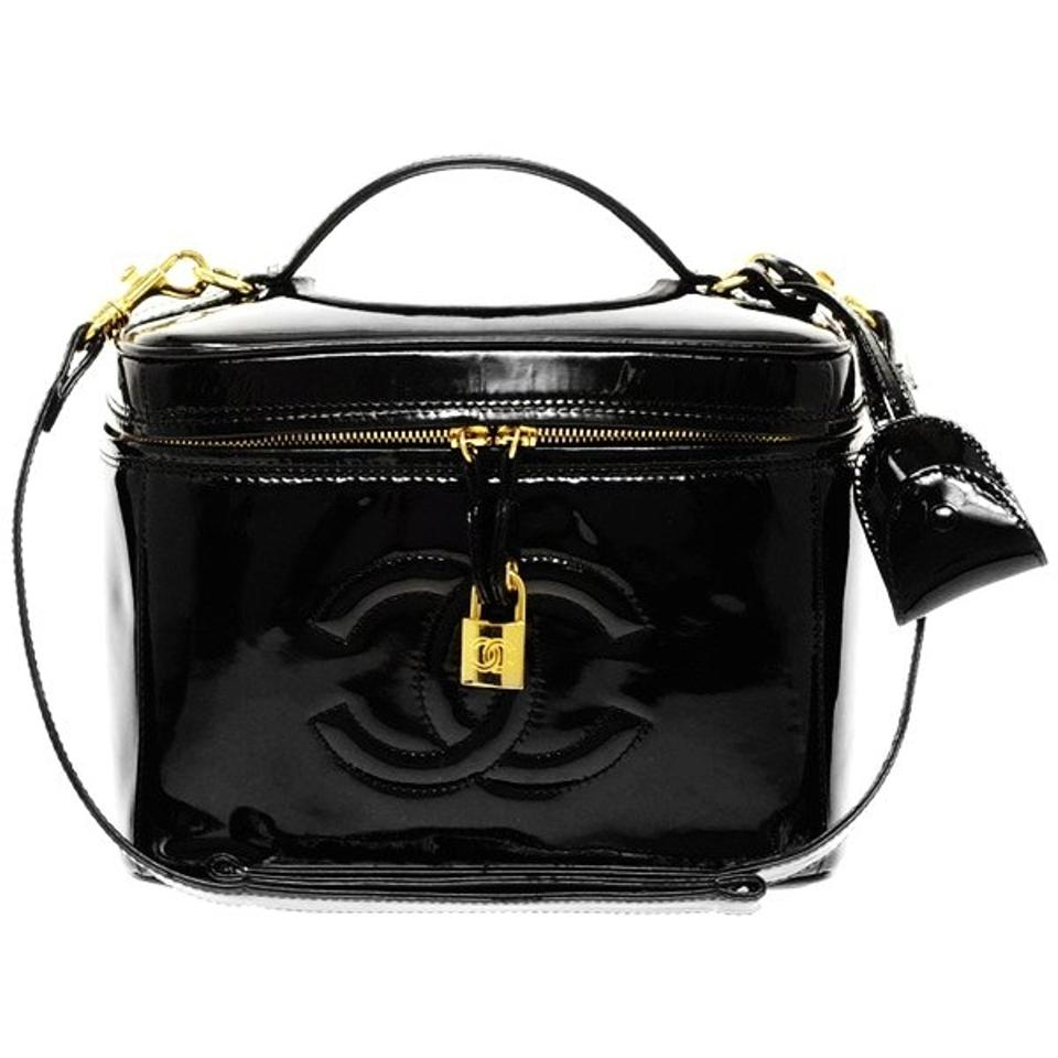 cb980780662d Chanel W Code Lg Rare Cosmetic Case Train Makeup Crossbody Black Patent  Leather Shoulder Bag