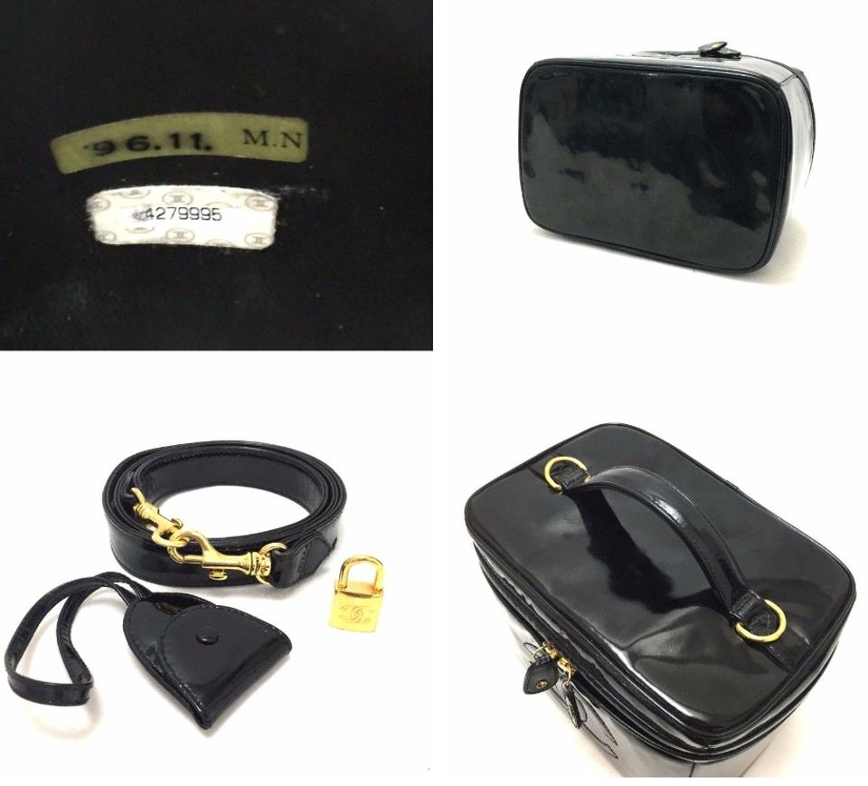 3ffc60d02c09 Chanel W Code Lg Rare Cosmetic Case Train Makeup Crossbody Black Patent  Leather Shoulder Bag - Tradesy