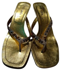 Prada Leather Studded Gold Sandals