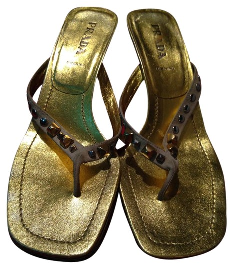 Prada Leather Studded Gold Sandals Image 0
