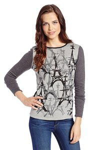 Catherine Malandrino Cotton Blend Effiel Tower Print Sweater